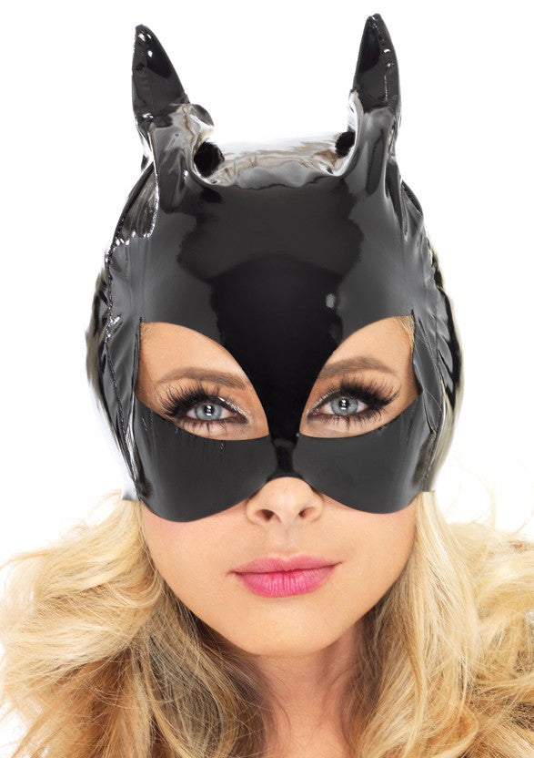 Vinyl Cat Woman Mask Black