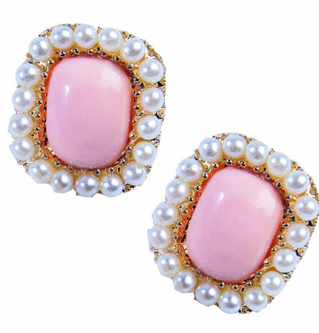50's Square Earrings Pink