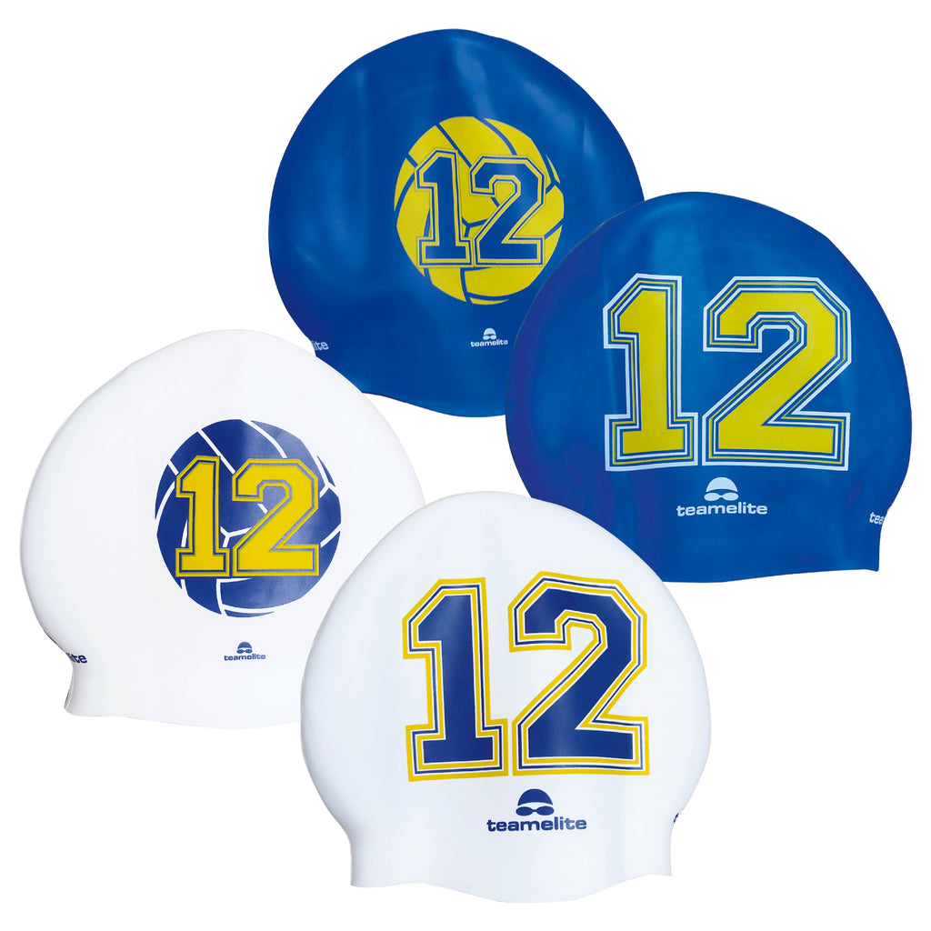 Team Elite Reversible Water Polo Silicone Swim Cap - Number 12