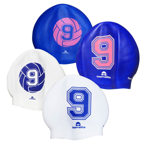 Team Elite Reversible Water Polo Silicone Swim Cap - Number 9