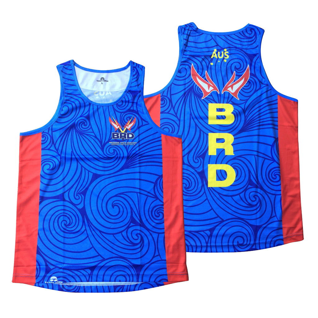 Brisbane River Dragons - Official Outrigger Canoe Racing Unisex Sublimated Race Singlet