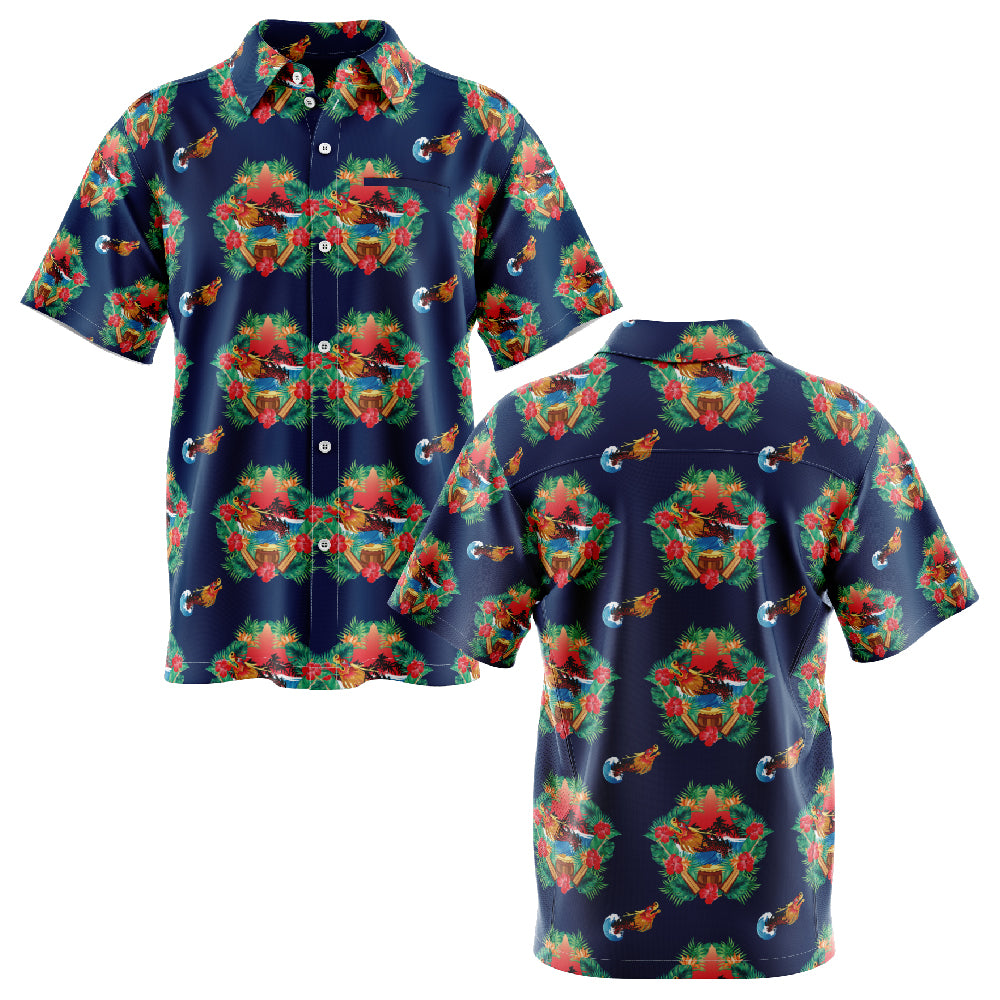 Hawaiian Dragon Boat Short Sleeve Shirt - Navy