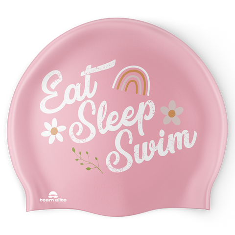 Eat Sleep Swim Flower Swim Cap - Reversible
