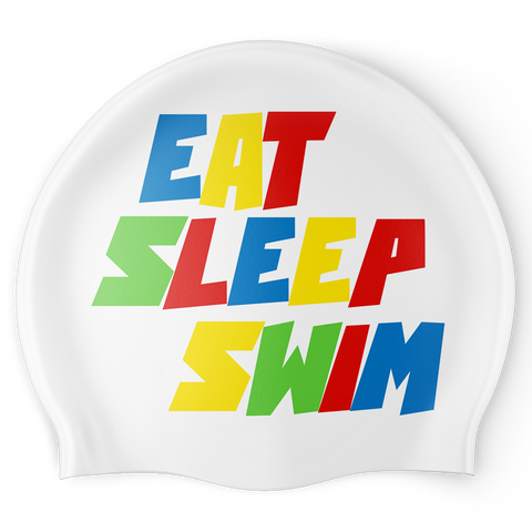 Eat Sleep Swim Graffiti Swim Cap - Reversible