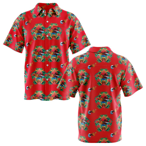 Hawaiian Dragon Boat Short Sleeve Shirt - Red
