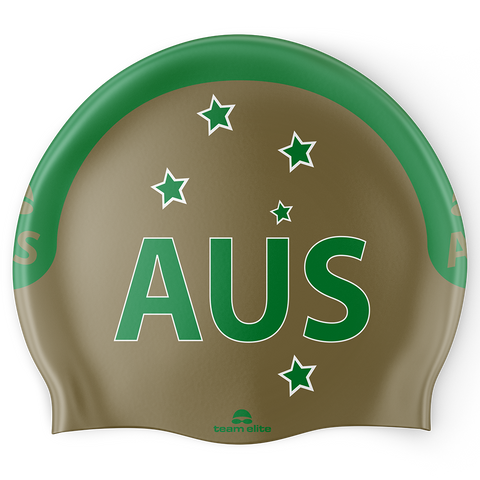 AUS Swim Cap - Gold/Green