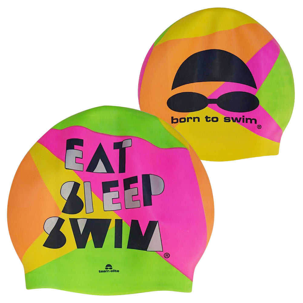 Born To Swim Silicone Cap - Multi Colour