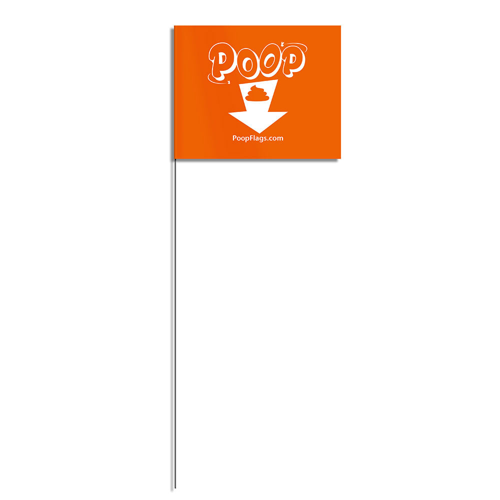 Arrow dog poop flag with metal staff