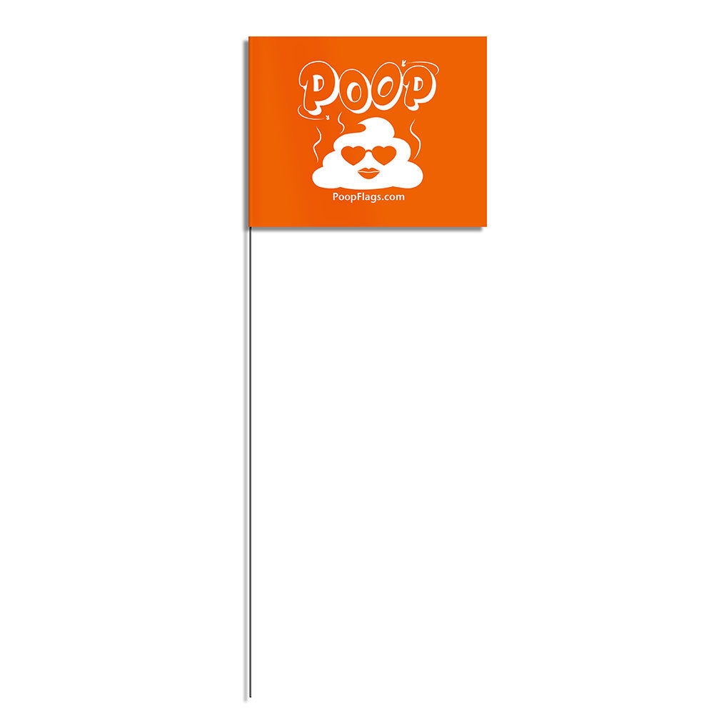 heart dog poop flag with metal staff