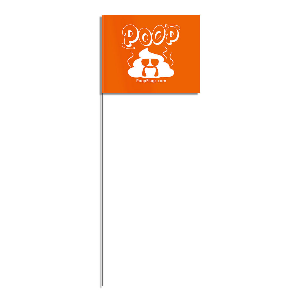 mustache dog poop flag with metal staff