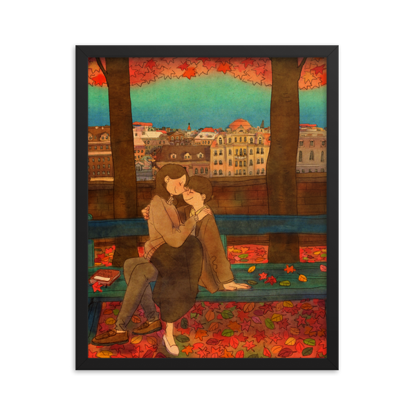 An autumn day by Puuung - Framed Poster (in)