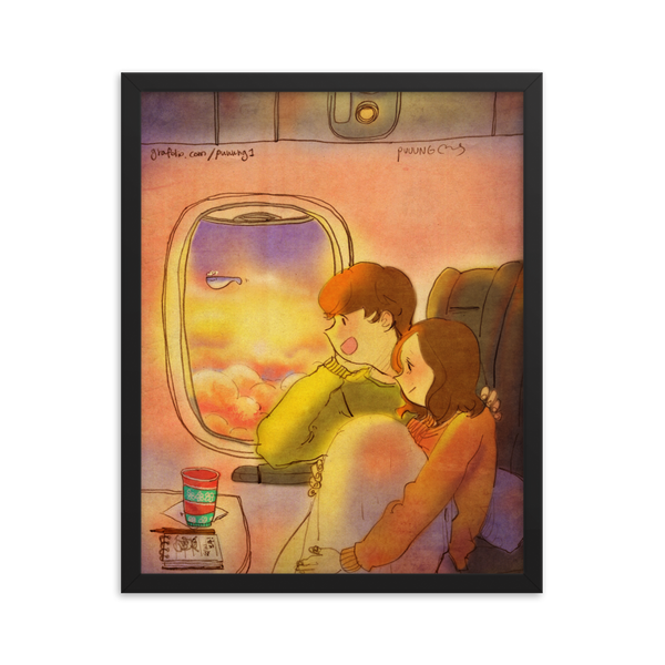 On an airplane by Puuung - Framed Poster (in)