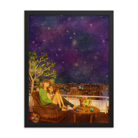 Stargazing by Puuung - Framed Poster (in)