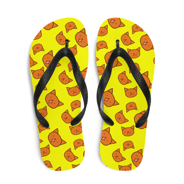 Garfield print beach slippers by Puuung - Yellow Flip Flops