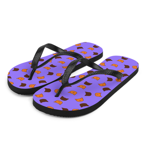 Garfield print beach slippers by Puuung - Violet Flip Flops