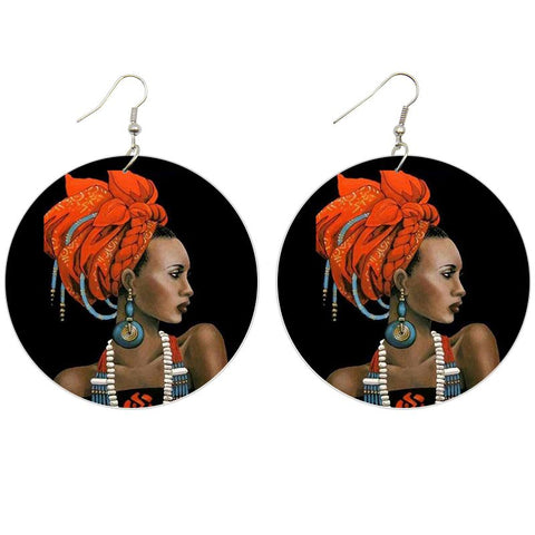 African black wooden earrings | African Lady