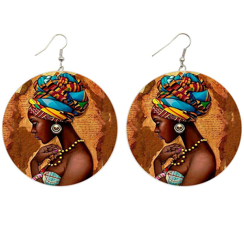 Africa inspired wooden earrings | African woman ( 2 sizes )
