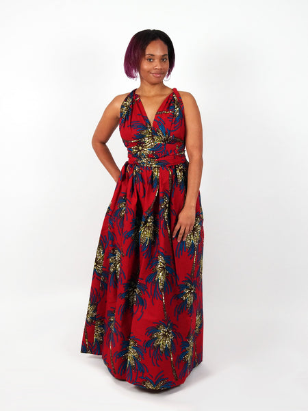 African Print Red Infinity Multiway Maxi Dress - ADAUGO