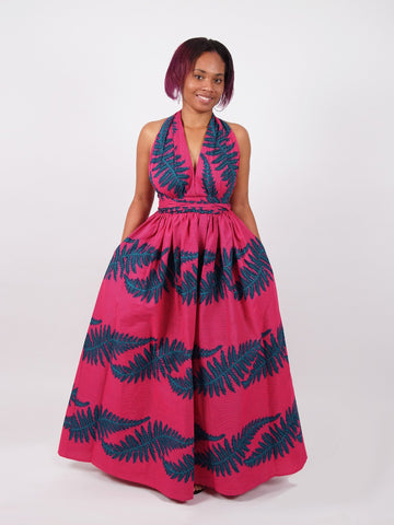 African Print Pink Infinity Multiway Maxi Dress - AHUNNA