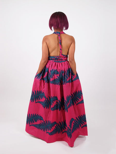 Afrikaanse print Infinity Multiway Maxi Jurk in roze print - AHUNNA