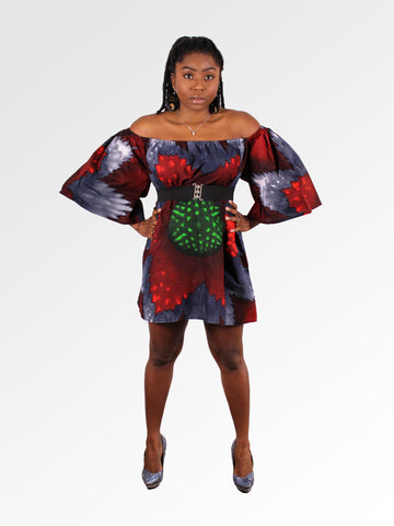 African print Red Off Shoulder Dress - CHIBARAMEZE