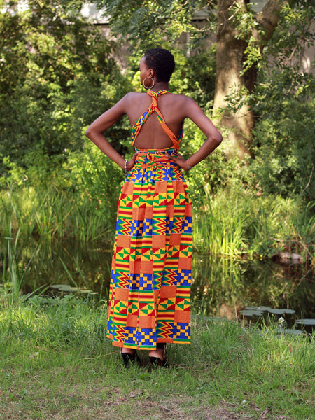 African Print Orange / Blue Kente Infinity Multiway Maxi Dress