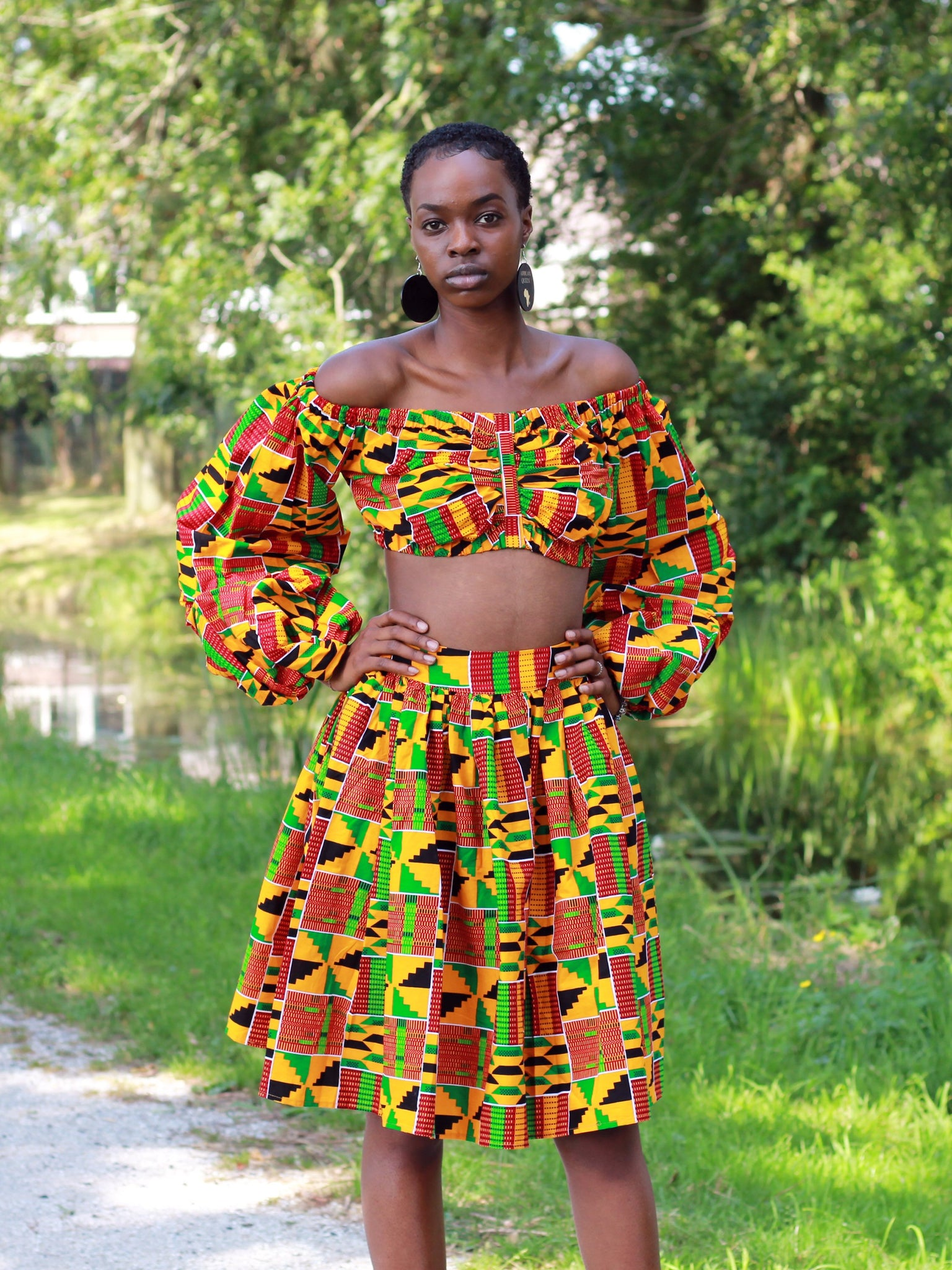 African print Kente Orange Two Piece set / Co-ord set