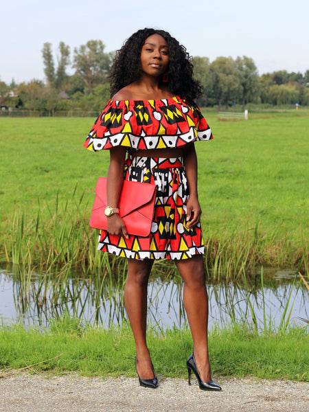 African Print Red Samakaka Crop Top