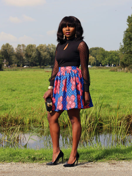 African print Blue / Pink Mini Skirt