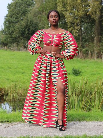 African print Red Pencil Two Piece set / Co-ord set
