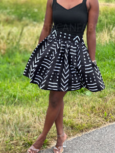 African print Purple / blue Maxi Skirt with slit