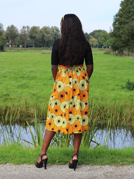 African print Yellow / Orange Midi skirt