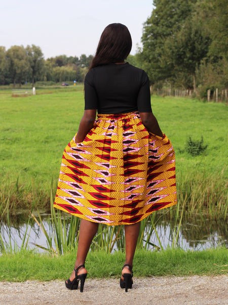African print Yellow / red Midi skirt