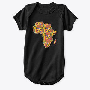 Baby Onesie - African continent in Kente print (Black or White)