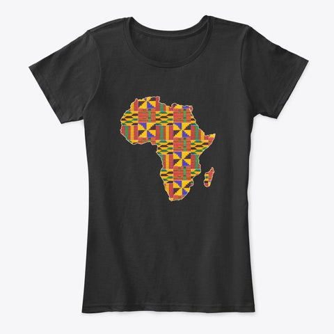 Women's T-shirt - African continent in Kente print (Black or White)