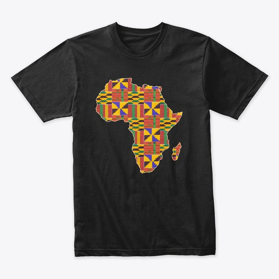T-shirt (Unisex) - African continent in Kente print (Black or White)