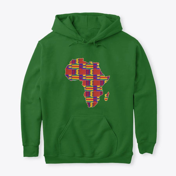 Hoodie / Sweater (Unisex) - African continent in Red Kente print (Multiple colors)