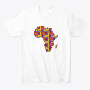 T-shirt (Unisex) - African continent in Red Kente print (Multiple colors)