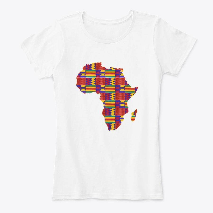 Women's T-shirt - African continent in Red Kente print (Shirt in multiple colors)