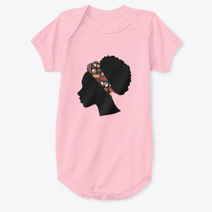 Baby Onesie - Head with Red Bogolan Headband (Multiple colors)