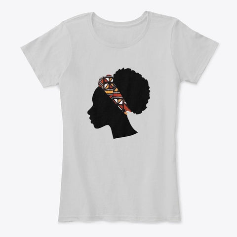 Women's T-shirt - Head with Red Bogolan Headband (White & Grey)