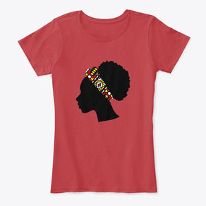 Women's T-shirt - Head with Red Samakaka Headband (White & Red)