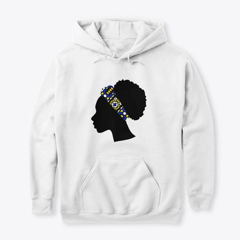 Hoodie / Sweater (Unisex) - Head with Blue Samakaka Headband (White & Blue)