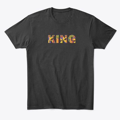 T-shirt - KING in Kente print (Black or White)