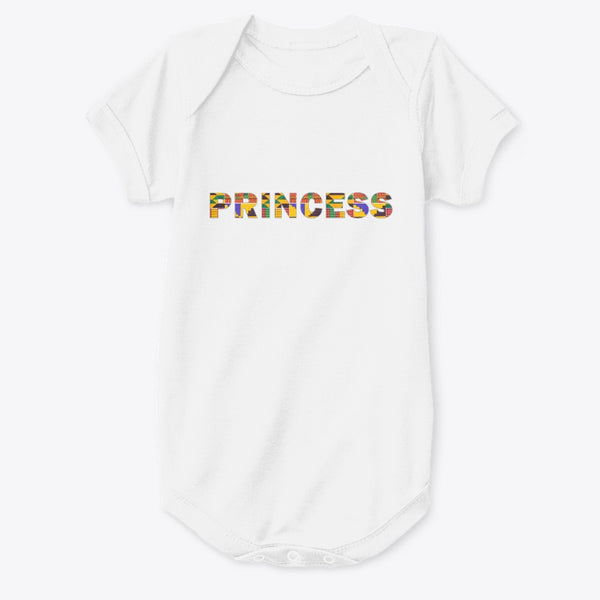"Baby Romper / Onesie - ""PRINCESS"" in kente print (Romper in Zwart of Wit)"