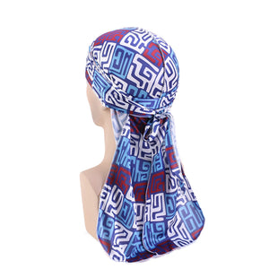 Durag / Du-rag / Do-rag / Bandana - Unisex - Mud cloth Blauw / Wit