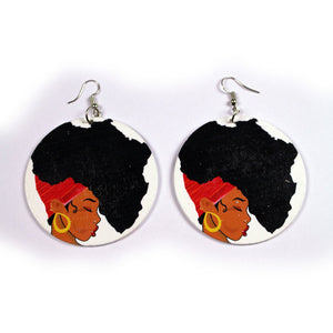 African wooden earrings | Afro woman red headwrap