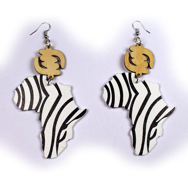 African wooden earrings | African Continent Zebra stripes