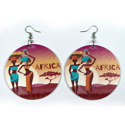 African large Ethnic drop earrings | 2 African ladies