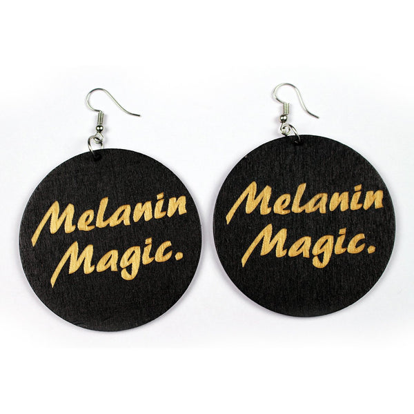 Black wooden African drop earrings | Melanin Magic